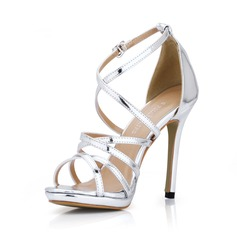 Women's Patent Leather Stiletto Heel Sandals Peep Toe shoes (087017925)