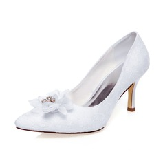 Women's Lace Stiletto Heel Closed Toe Pumps With Flower