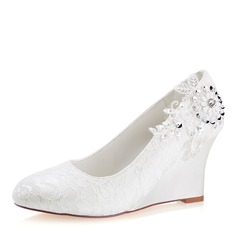 Women's Lace Silk Like Satin Wedge Heel Closed Toe Wedges With Sequin Stitching Lace Pearl