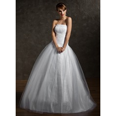 Ball-Gown Strapless Floor-Length Tulle Quinceanera Dress With Ruffle Beading