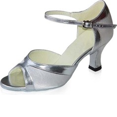 Women's Satin Patent Leather Heels Sandals Latin With Ankle Strap Dance Shoes