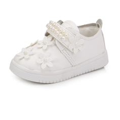 Girl's Leatherette Flat Heel Closed Toe Flats With Imitation Pearl Velcro Flower