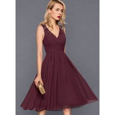 A-Line V-neck V-Neck Knee-Length Chiffon Cocktail Dress With Ruffle (270214062)