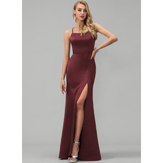 Sheath/Column Square Neckline Floor-Length Satin Prom Dresses With Split Front (272235521)