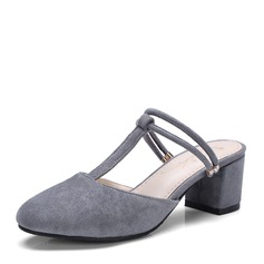 Women's Suede Chunky Heel Sandals Pumps Slingbacks With Others shoes