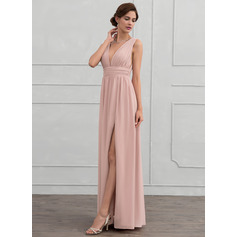 A-Line/Princess V-neck Floor-Length Chiffon Evening Dress With Ruffle (017116322)