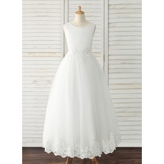 Ball-Gown/Princess Chapel Train/Detachable Flower Girl Dress - Tulle/Lace Sleeveless Scoop Neck