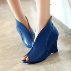 المرأة جلدي كعب ويدج مضخات أسافين مع آخرون أحذية