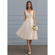 V-neck Knee-Length Lace Wedding Dress (265213130)