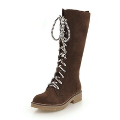 Women's Suede Low Heel Boots Knee High Boots With Lace-up shoes (088175647)