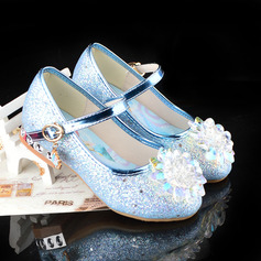 Girl's Round Toe Closed Toe Leatherette Low Heel Flats With Buckle Sparkling Glitter Crystal