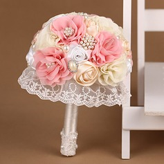 Sweet Round Satin/Lace Bridal Bouquets -