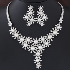 Unique Alloy Rhinestones With Imitation Pearl Ladies' Jewelry Sets