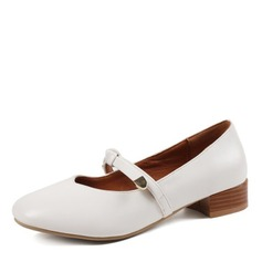 Women's Leatherette Chunky Heel Flats shoes (086172745)