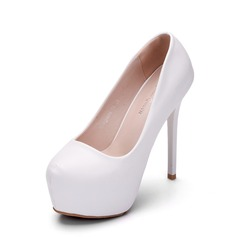 Women's Leatherette Stiletto Heel Closed Toe Platform Pumps With Others