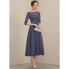 Round Neck 1/2 Sleeves Midi Dresses (293252118)