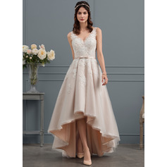 A-Line/Princess V-neck Asymmetrical Tulle Lace Wedding Dress With Bow(s) (002153456)