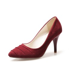 Women's Suede Stiletto Heel Pumps With Ruched shoes