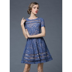 Polyester/Cotton/Lace With Stitching Above Knee Dress (199103604)
