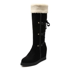 Women's Suede Wedge Heel Mid-Calf Boots With Fur Braided Strap shoes