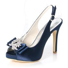 المرأة حرير مثل الساتان كعب ستيليتو تو زقزقة منصة مضخات صنادل أحذية خفيفة مع عقد لطيفة (بوونوت) مشبك حجر الراين
