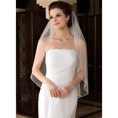 One-tier Fingertip Bridal Veils With Beaded Edge (006036616)