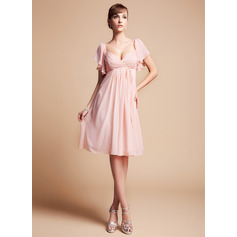 Empire Sweetheart Knee-Length Chiffon Bridesmaid Dress With Cascading Ruffles (266195621)