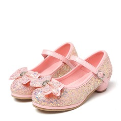Girl's Round Toe Sparkling Glitter Low Heel Pumps Flower Girl Shoes With Bowknot Rhinestone