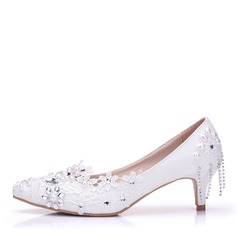 Women's Leatherette Low Heel Closed Toe Pumps With Stitching Lace Crystal