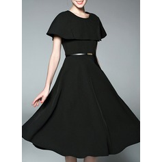 Polyester With Stitching Knee Length Dress (199133158)