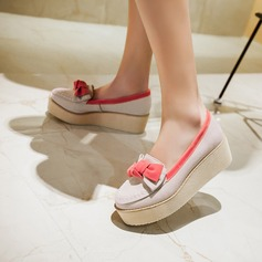 Women's Suede Wedge Heel Wedges With Bowknot shoes