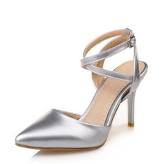 Women's Leatherette Stiletto Heel Closed Toe Pumps Sandals With Buckle