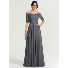 A-Line/Princess Off-the-Shoulder Floor-Length Chiffon Evening Dress With Beading (017167708)