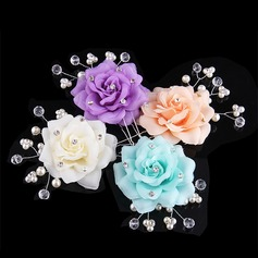 Unique Crystal/Rhinestone/Alloy/Imitation Pearls/Silk Flower Hairpins (Set of 3)