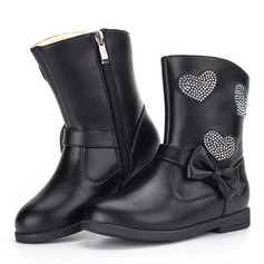 Girl's Mid-Calf Boots Microfiber Leather Flat Heel Flats Boots With Bowknot Zipper
