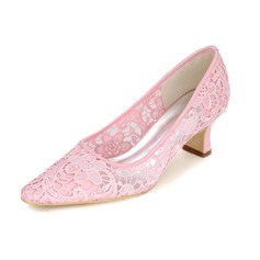 Women's Lace Spool Heel Closed Toe Pumps