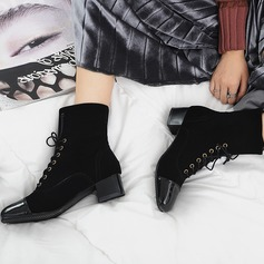 Women's Suede Leatherette Low Heel Pumps Ankle Boots With Lace-up shoes