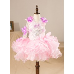 Ball Gown Knee-length Flower Girl Dress - Organza/Lace Scoop Neck With Lace/Beading/Flower(s)