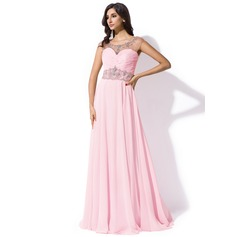 A-Line/Princess Scoop Neck Sweep Train Chiffon Prom Dress With Ruffle Beading Sequins