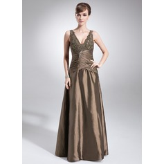 A-Line/Princess V-neck Floor-Length Taffeta Mother of the Bride Dress With Ruffle Lace Beading