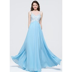 Empire Sweetheart Floor-Length Chiffon Prom Dresses With Beading Sequins
