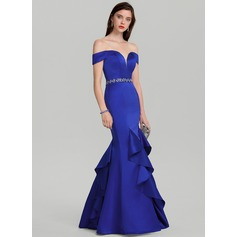 5450f5dab Trumpet Mermaid Off-the-Shoulder Floor-Length Satin Evening Dress With  Beading