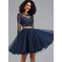 A-Line Scoop Neck Short/Mini Tulle Homecoming Dress With Sequins (022203135)