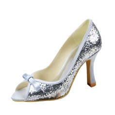 Women's Satin Sparkling Glitter Stiletto Heel Peep Toe Sandals With Bowknot
