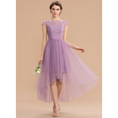 A-Line Scoop Neck Asymmetrical Tulle Lace Bridesmaid Dress