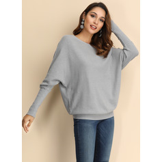 Solid Polyester Off the Shoulder Pullovers Sweaters (1002223260)
