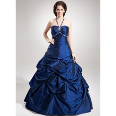 A-Line/Princess Halter Floor-Length Taffeta Quinceanera Dress With Ruffle Beading