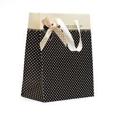Classic Cuboid Pearl Paper Favor Bags With Ribbons