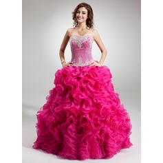 Ball-Gown Strapless Floor-Length Organza Quinceanera Dress With Beading Appliques Lace Sequins Cascading Ruffles (021016752)