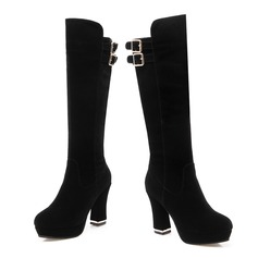 Women's Suede Chunky Heel Platform Knee High Boots With Buckle shoes